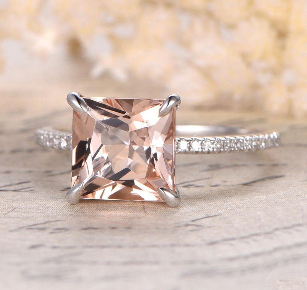 1.25 Carat Peach Pink Morganite (princess cut Morganite) and Diamond Engagement Ring in 10k White Gold