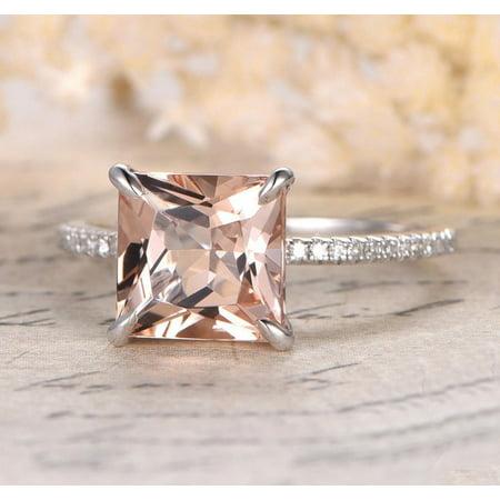 1.25 Carat Peach Pink Morganite (princess cut Morganite) and Diamond Engagement Ring in 10k White