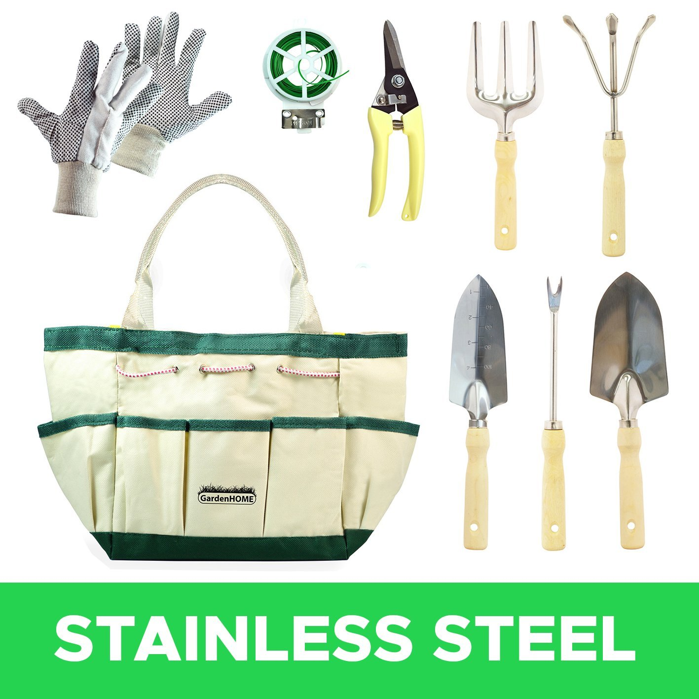 Garden Tools with Canvas Storage Tool Set Tote and Gardening Gloves(9 Pieces) by GardenHOME
