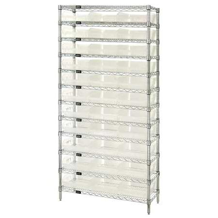 Wire Storage Bins (Bin Shelving, Wire, 36X18, 33 Bins, Clear QUANTUM STORAGE SYSTEMS)