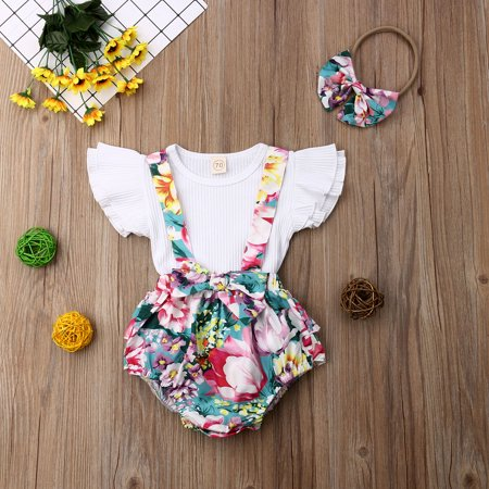 359edea38ed05 Baby Girls Sisters Outfit Little Sister Big Sister Clothes Floral Shirt Top  Romper Dress