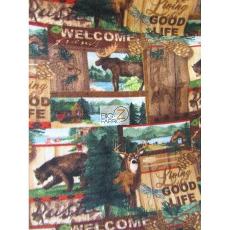 David Textiles Fleece Printed Fabric / Rustic Retreat Wildlife / Sold By The Yard ()