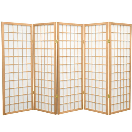 Oriental Furniture 4 ft. Tall Window Pane Shoji Screen, natural color, 5 panel ()