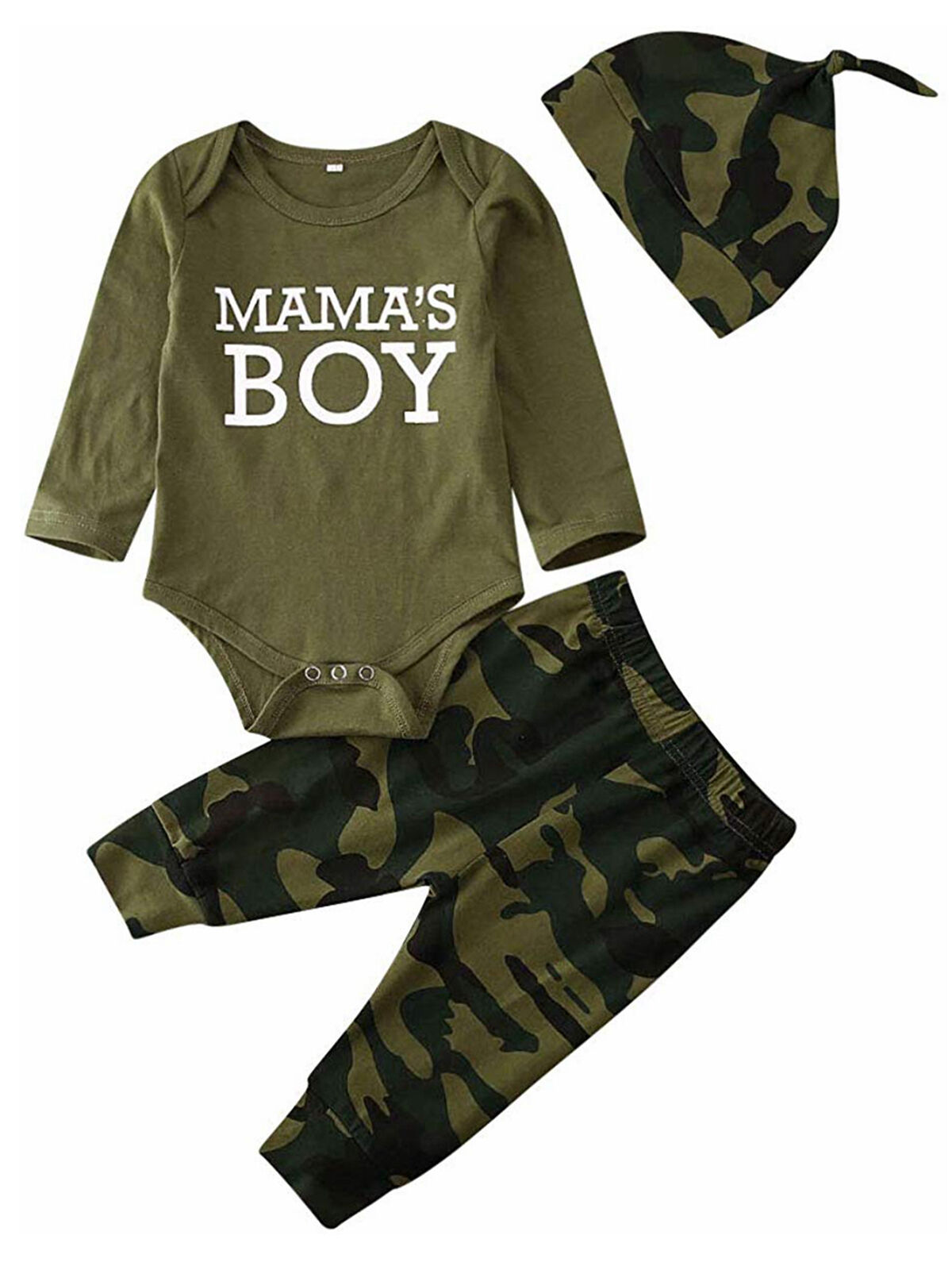 Green Long Pants Outfit Set BOBORA Mamas Boy Girl Camouflage Short Sleeve T-Shirt Tops