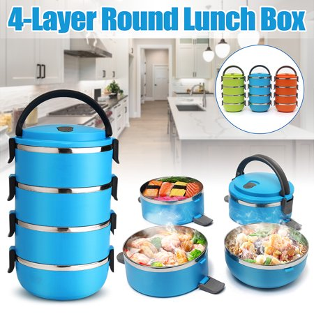 3500ML Portable Insulated Stainless Steel Microwavable 4-Tier Lunch Box - Food Meals and Beverages Thermal Container Storage – Stackable Containers with Handle