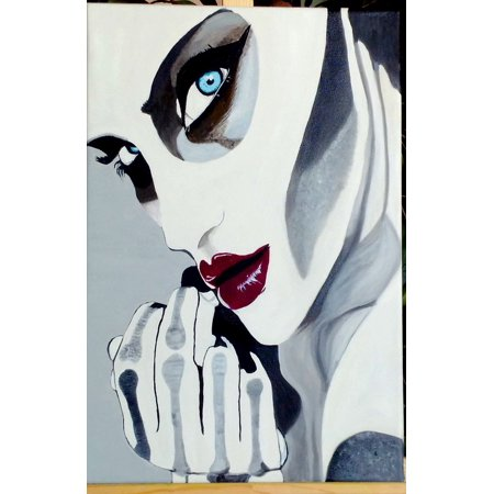 Framed Art For Your Wall Face Red Lips Halloween Oil Painting Woman Fantasy 10x13 Frame - Lip Painting Halloween