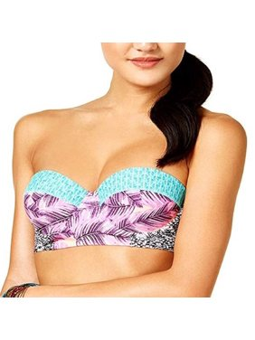 Hula Honey Juniors' Leaf Breeze Underwire Push-Up Midkini Swim Top (Pink Lilac, X-Large)
