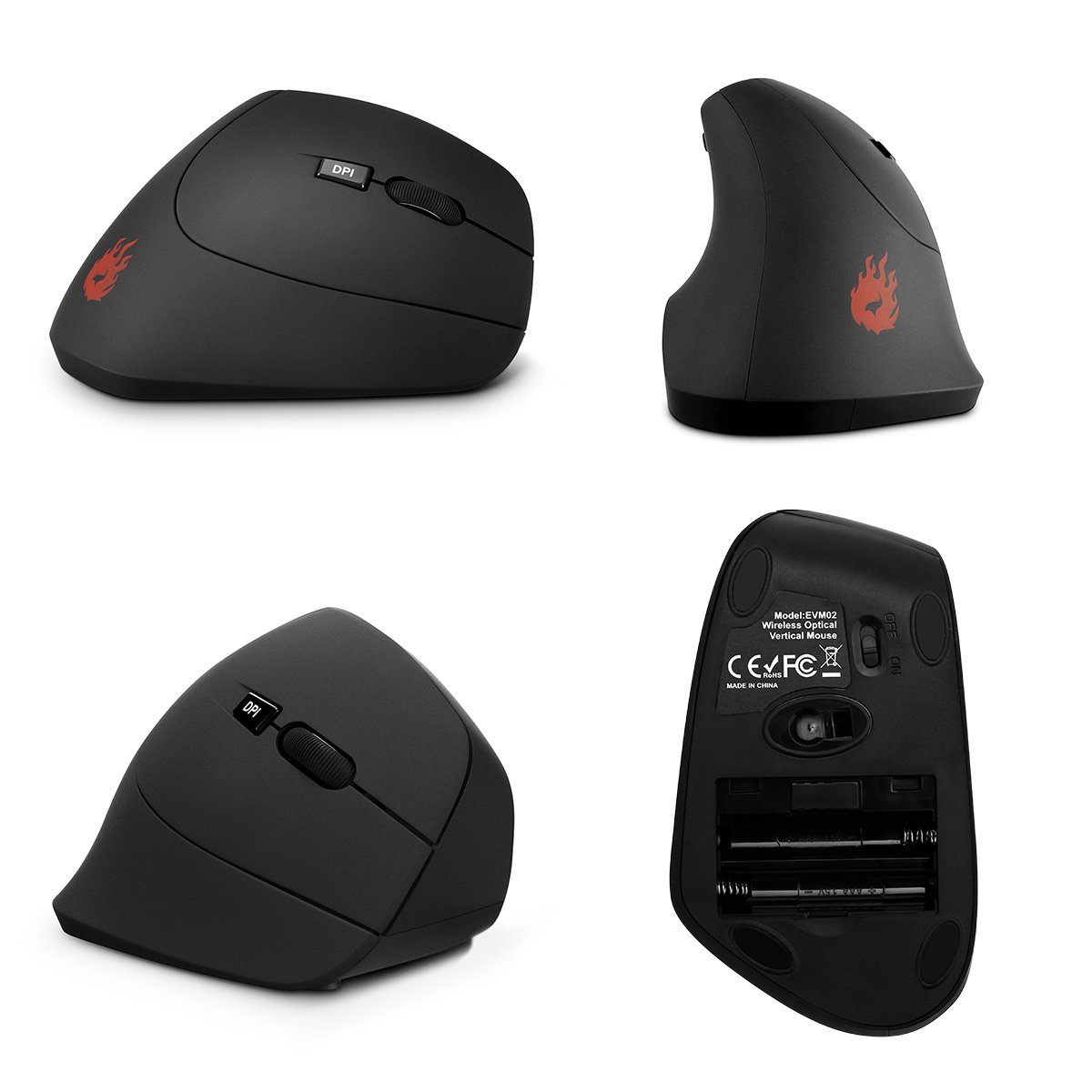 e3f58913ceb Velocifire Wireless Ergonomic Vertical Mouse USB 2.4G Adjustable DPI 800 /  1200 /1600 with 6 Buttons Black [Upgraded Version] EVM02 - Walmart.com