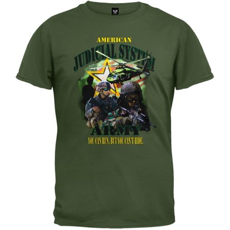 Us Army   American Judicial System Olive Adult T Shirt