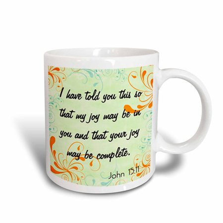 Christian Mug (3dRose Bible Verse John 15-11 Gradient Swirl Pastel Bible Christian Inspirational Saying, Ceramic Mug, 15-ounce )
