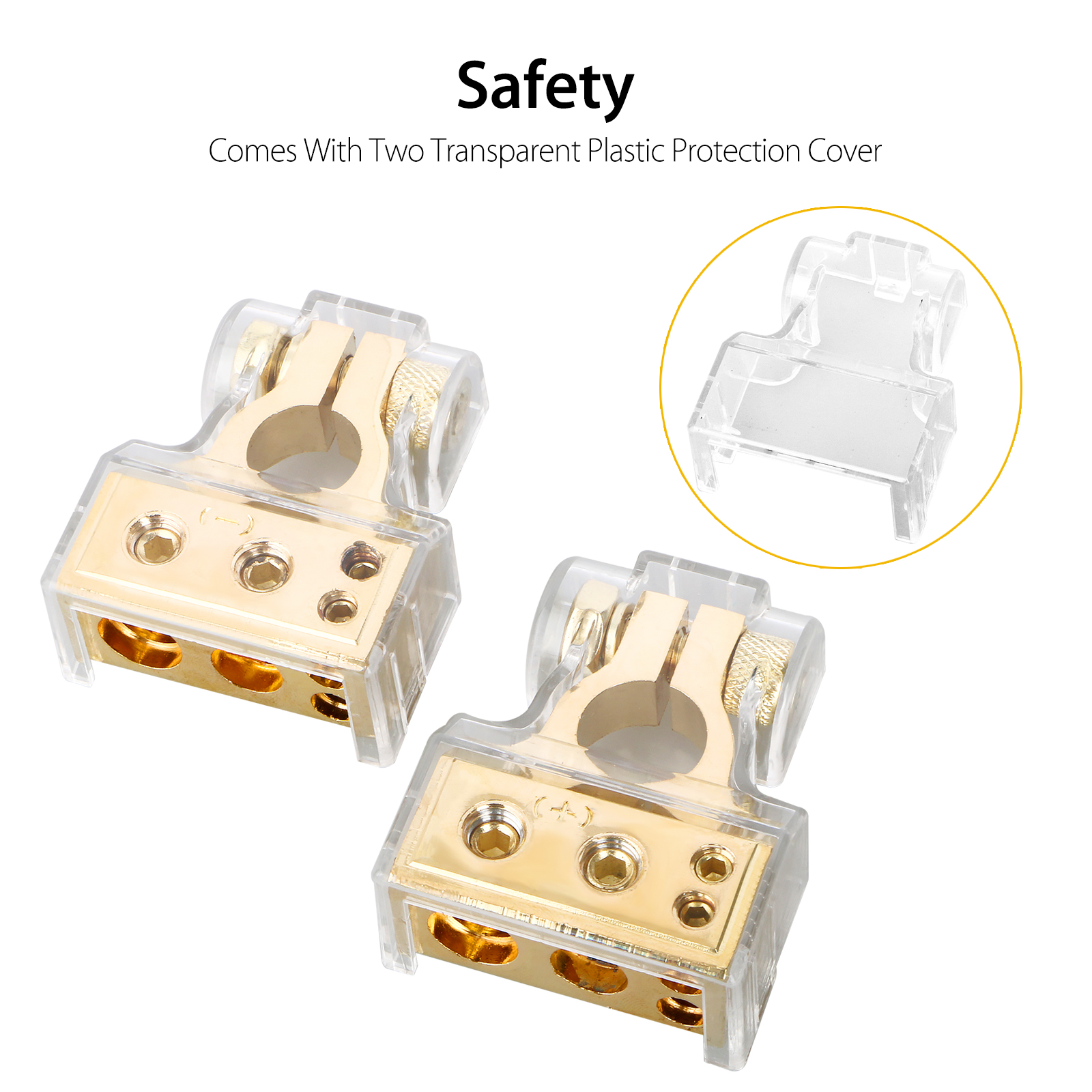 2-pack Car Auto Battery Terminal Chrome 4//8 AWG Positive /& Negative Connectors