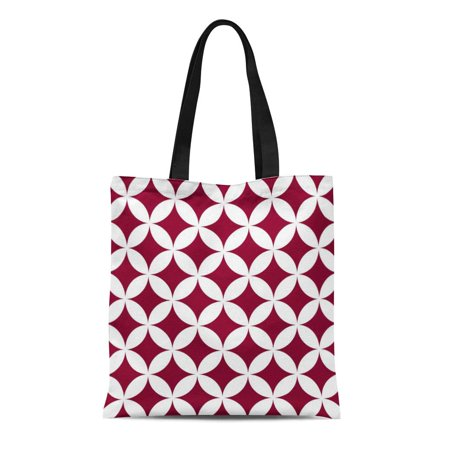 ASHLEIGH Canvas Tote Bag Red Designer Geometric Circles in Cranberry and White Best Reusable Handbag Shoulder Grocery Shopping