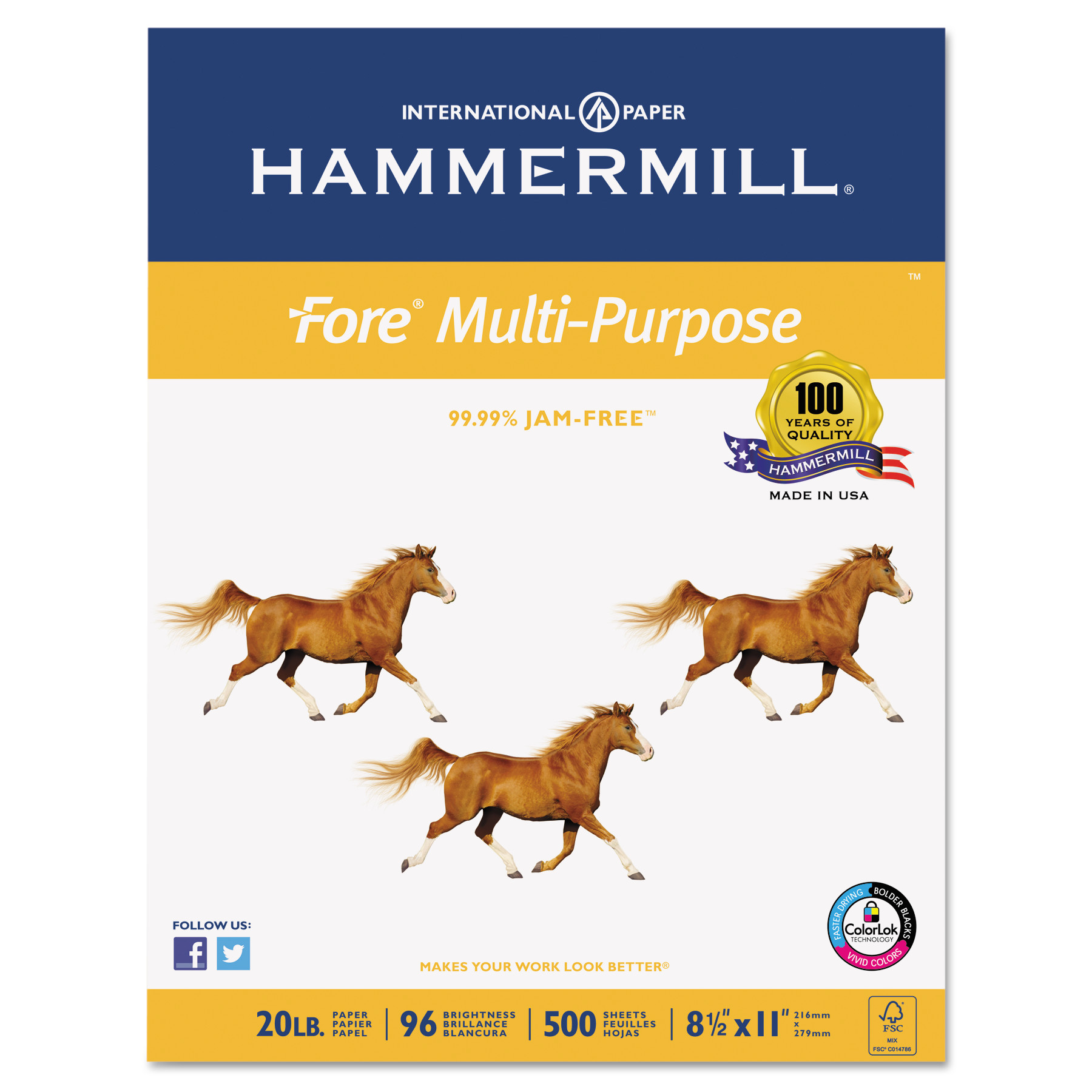 Hammermill Fore MP Multipurpose 20lb Paper, 96 Brightness, 8-1/2 x 11, 10 Ream/Case (500 Sheet/Ream)