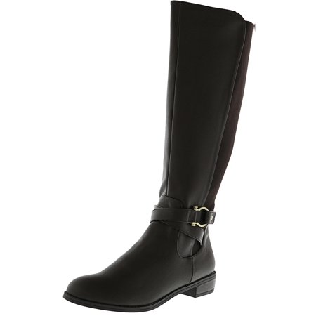 Karen Scott Women's Davina Brown Knee-High Leather Equestrian Boot - 8M