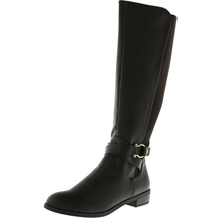 Leather Equestrian Boots - Karen Scott Women's Davina Brown Knee-High Leather Equestrian Boot - 8M