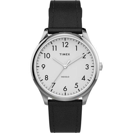 Timex Women's Modern Easy Reader 32mm Black/Silver Genuine Leather Strap Watches