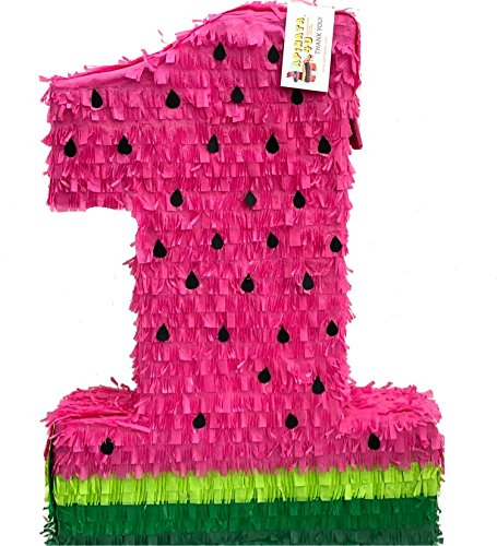APINATA4U Watermelon Themed Number One Pinata, Red & Green, 18in x 24in