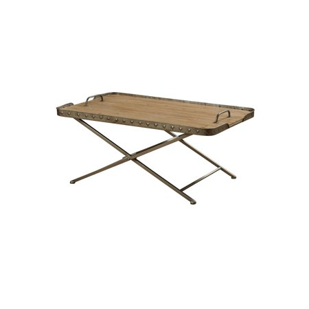Natural Wood Top Folding Coffee Table - Antique Gun Metal