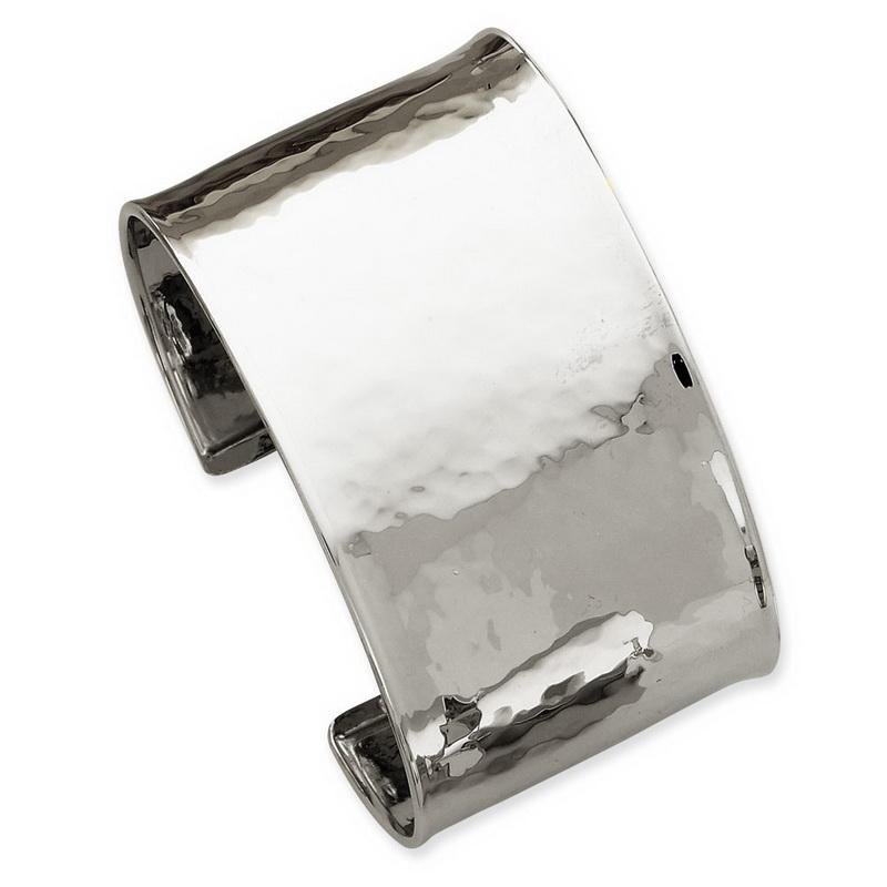 14k White Gold 37mm Hammered Polished Bangle Bracelet 34.8 Grams by Kevin Jewelers