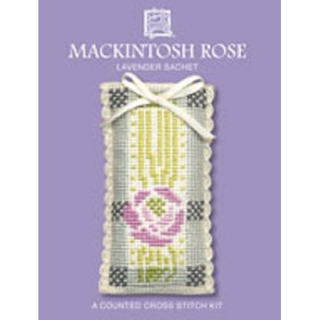 Textile Heritage Lavender Sachet Counted Cross Stitch Kit - MacIntosh Rose
