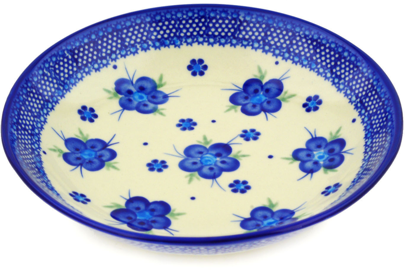 Polish Pottery 8�-inch Pasta Bowl (Bleu-belle Fleur Theme) Hand Painted in Boleslawiec, Poland + Certificate... by Ceramika Bona