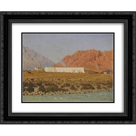 Vasily Vereshchagin 2x Matted 24x20 Black Ornate Framed Art Print 'Strengthening Naryn in Tien Shan (Celestial Mountains) near Kashgar border'](Tien Dbz)