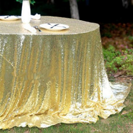 50''X45'' Glitter Sparkly Sequin Fabric Tablecloth Table Cover party For Wedding/Event/Party/Banquet Photography Backdrop Champagne Gold Decor Gift (Table Decor For Parties)