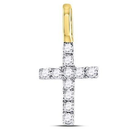 14kt Yellow Gold Womens Round Diamond Dainty Cross Pendant 1/10 Cttw ()