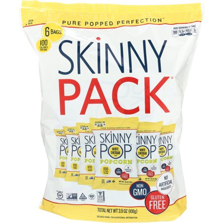 SkinnyPop Popcorn, Skinny Pack, White Cheddar, 6 bags, 0.65 Oz each, Gluten-Free Popcorn, Non-GMO, No Artificial Ingredients, Healthy