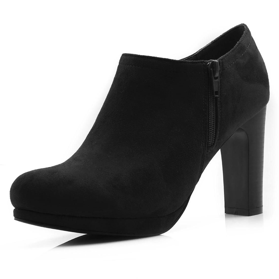 Women's Round Toe Zipper Side High Heel Ankle Boots Black US 7