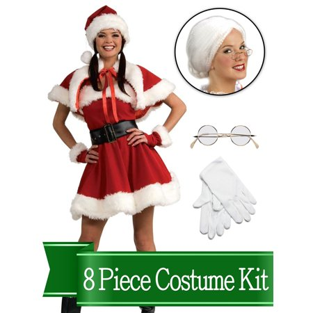 Mrs Santa Claus Traditional Womens Complete Costume Kit - One Size