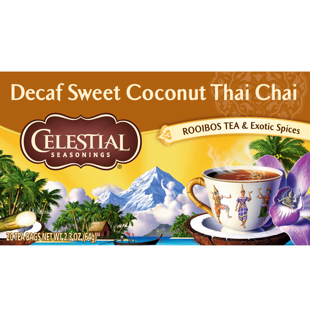 (2 Pack) Celestial Seasonings Decaf Sweet Coconut Thai Chai, 20 Count