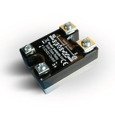 Opto 22 240D25-17 DC Control Solid State Relay, 240 VAC, 25 Amp, 4000 V Optical Isolation, 1/2 Cycle Maximum Turn-On/Off Time, 25 - 65 Hz Operating (Isolation Relay)
