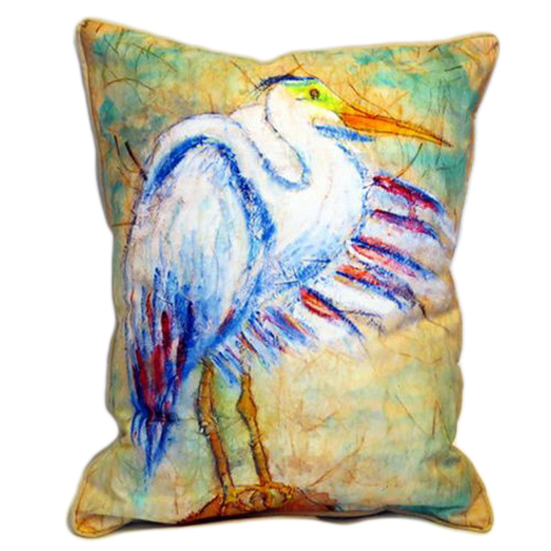 Betsy Drake Egret On Rice Extra Large 24 X 20 Indoor / Outdoor Zippered Pillow