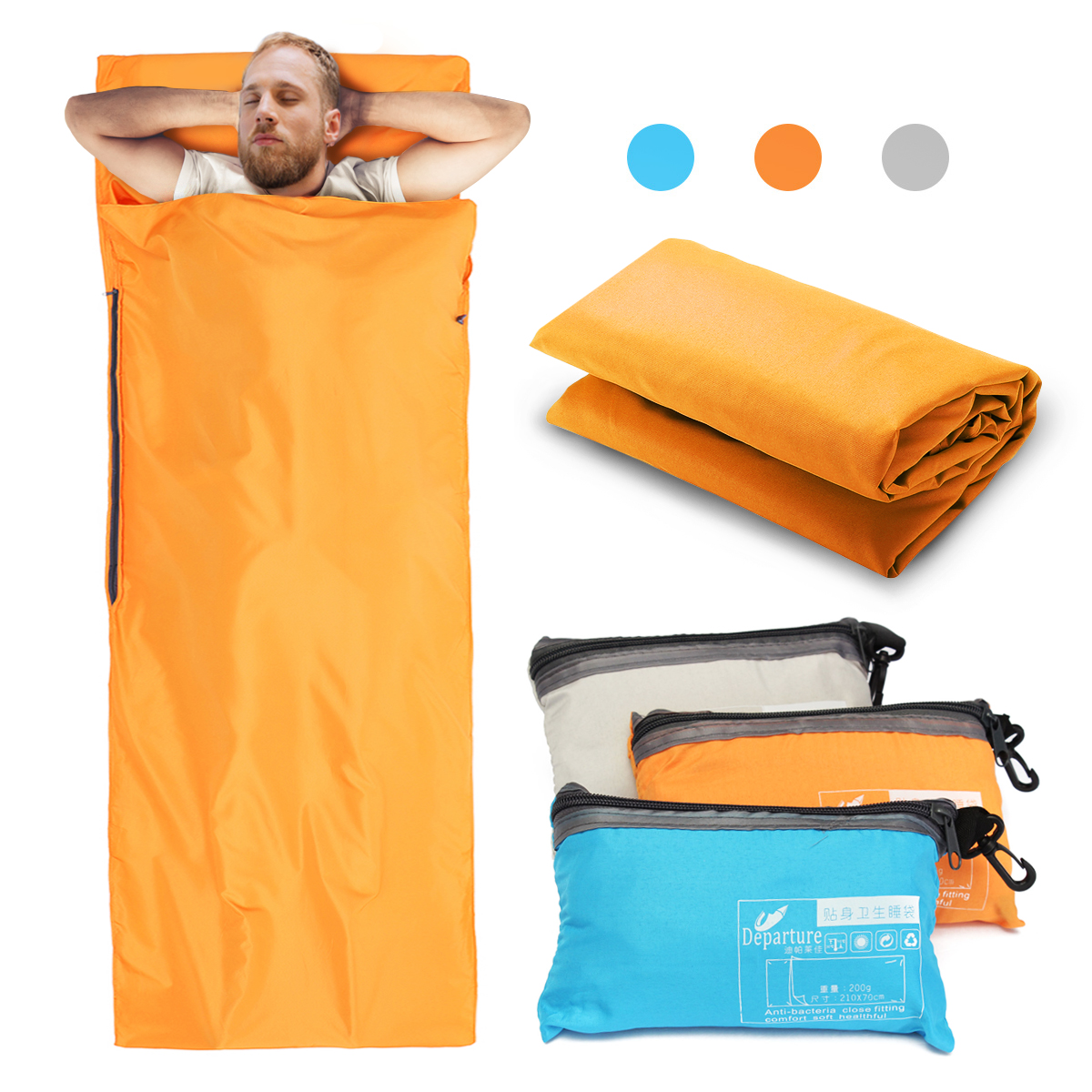 Travel Camping Sheet, Envelope Antimicrobial Soft Sleeping bag Liner - Compact Sleep Sheet with Lightweight Carry Bag for Travel,Youth Hostels, Picnic