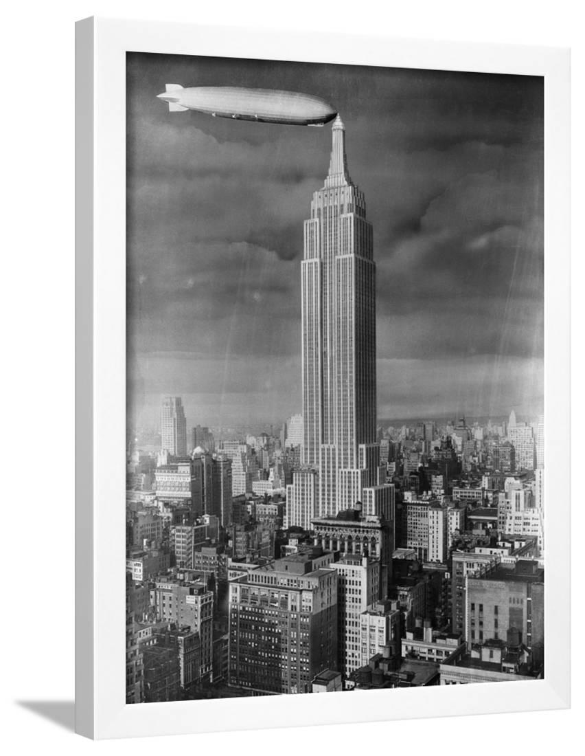 Dirigible Docked At Empire State Building Framed Print