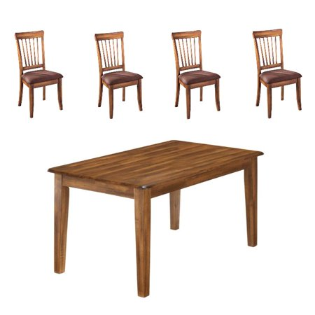 5 Piece Dining Room Table Set with Rustic Table and 4 Spindle Back Chairs, Hickory Stain Finish ()