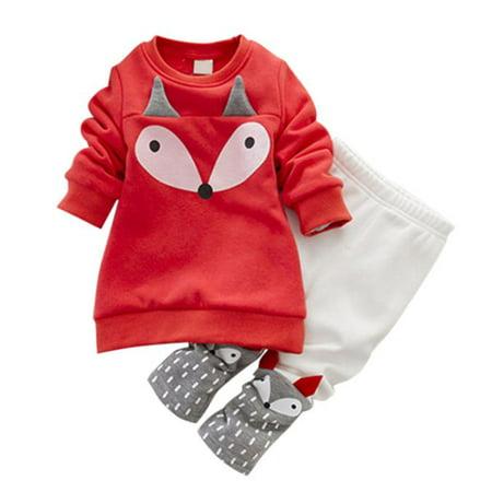 JEFFENLY Baby Girls Winter Long-Sleeved Cartoon Fox Thick Velvet Sweater Suits Set (Winter Suit Baby)