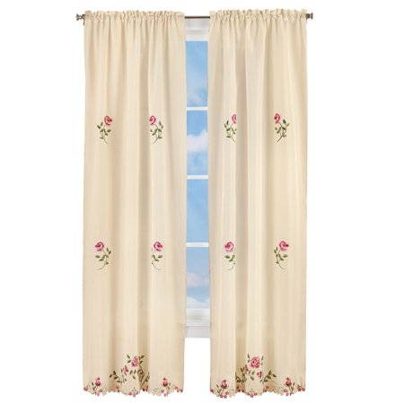 Elegant Pink Rose Floral Embroidered Curtains Drapes, Ivory