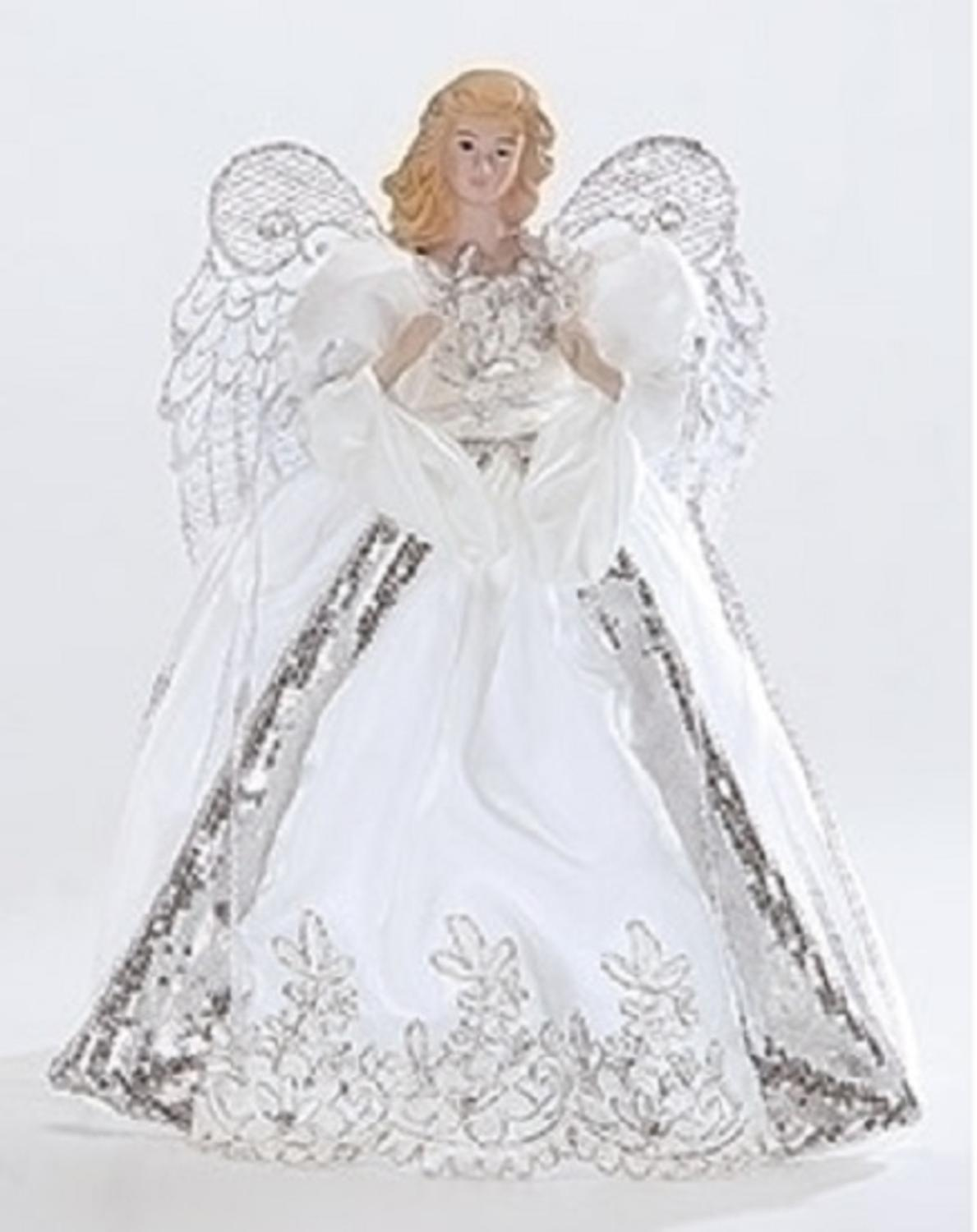 white and silver porcelain angel with bows christmas tree topper 14 walmartcom - Angel Topper For Christmas Tree