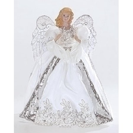 White and Silver Porcelain Angel with Bows Christmas Tree Topper ...
