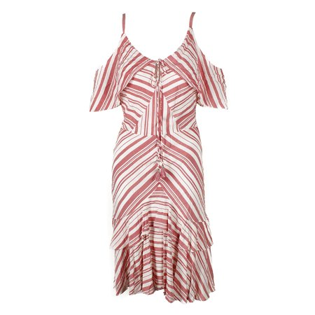 Sangria Red White Striped Cold-Shoulder Ruffled A-Line Dress 12 (Best Red Sangria Recipe)