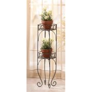 SWM 28232 9 1/4'' Dia.  x 28'' H Two Tier Plant Stand - Metal