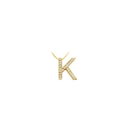 Classic K Initial Cubic Zirconia Pendant 18K Yellow Gold Vermeil 0.35 CT CZs - image 5 of 5