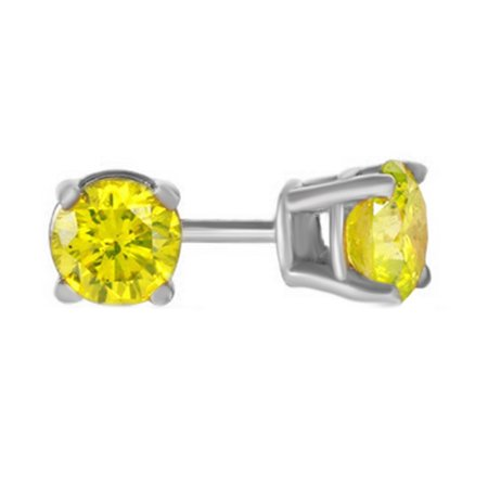 Yellow Natural Diamond Solitaire Stud Earrings In 14K Solid White Gold (0.5 Ct) 14k Yellow Gold Stud Earrings