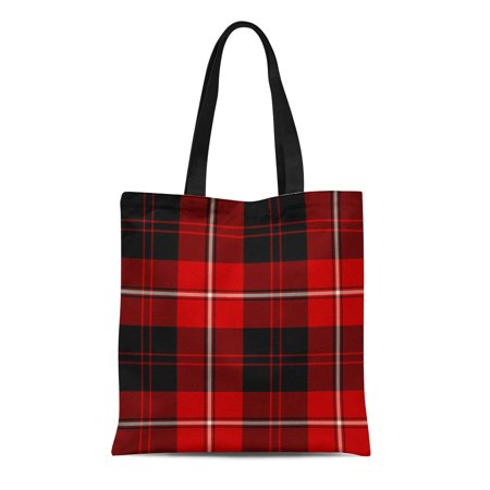 ASHLEIGH Canvas Tote Bag Gray Clan Red Black and Cunningham Scottish Plaid Tartan Reusable Handbag Shoulder Grocery Shopping Bags