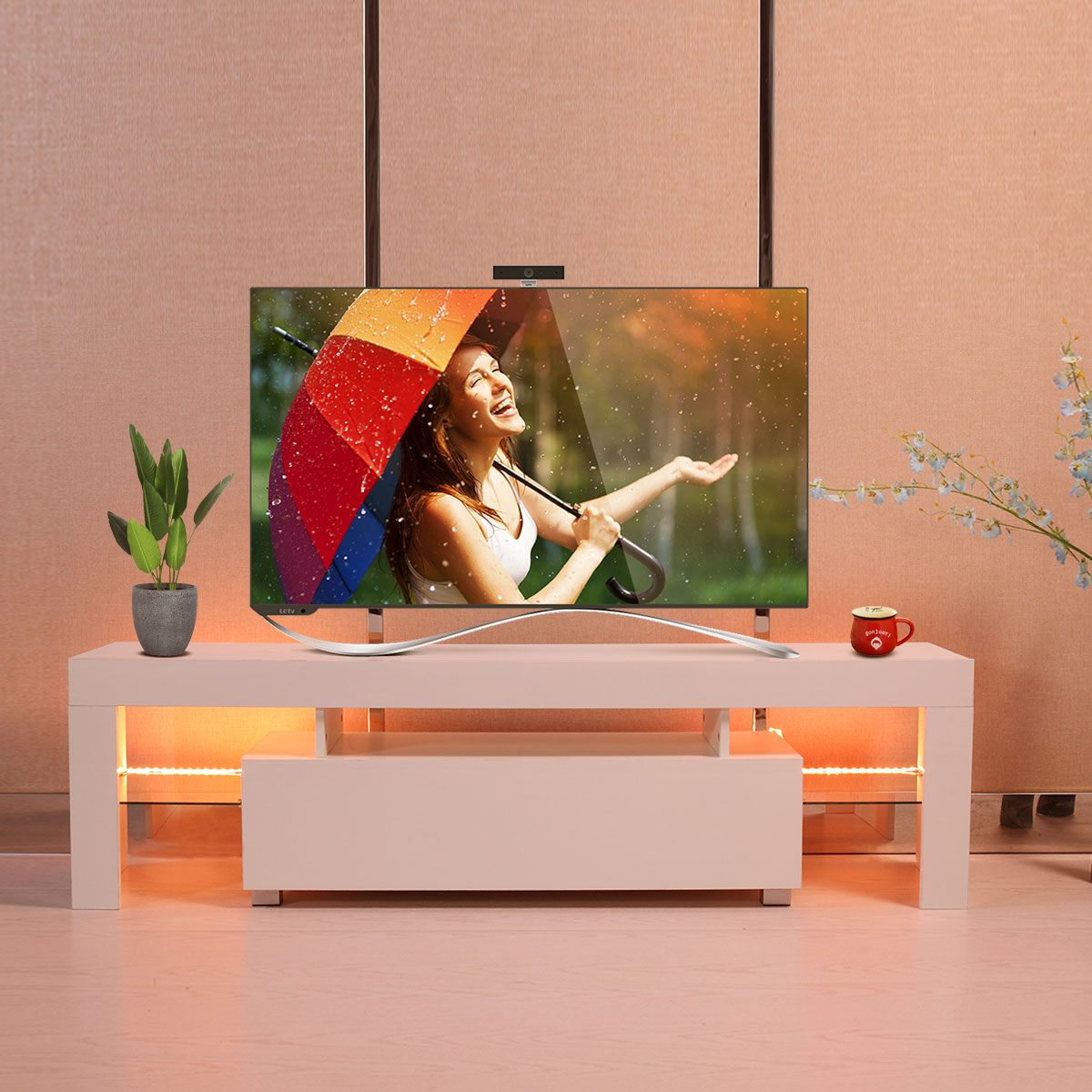 High Gloss White TV Stand Unit Cabinet Console with LED Shelves and Drawer