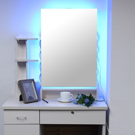 LED Wall Mounted Lighted Dimmable Vanity Bathroom Home/Office LED Lighted Mirror Hanged Two-Way Frameless Backlit Wall Mirror Anti-Fog with Touch -