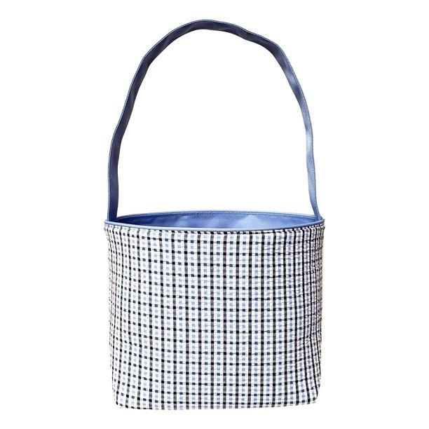Pastel Checkered Seersucker Fabric Basket Bucket Tote Bag Custom