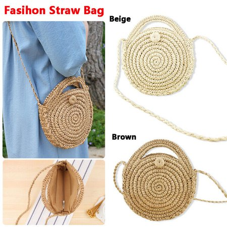 Fashion new wicker woven round crossbody bag beach slung preparation handbag Wicker Woven Handbag